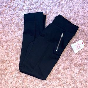 🔥 Girls NWT Black Leggings with Pockets Zippered